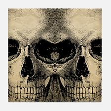 vintage_skull_flipflops Tile Coaster