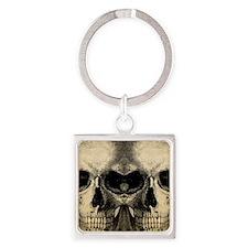vintage_skull_flipflops Square Keychain