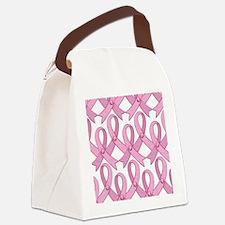 PinkRibnDotStMPtr Canvas Lunch Bag