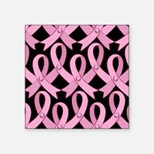 """PinkRibnDotStMPb Square Sticker 3"""" x 3"""""""
