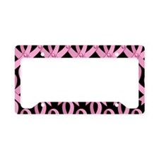 PinkRibnDotStLapTcB License Plate Holder