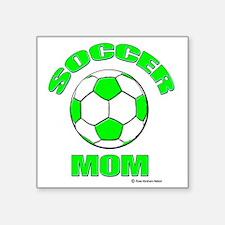 """Soccer Mom florecent Green Square Sticker 3"""" x 3"""""""