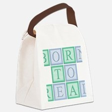 Blue_Green_Born_to_read_5x5 Canvas Lunch Bag