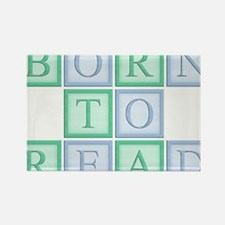 Blue_Green_Born_to_read_5x5 Rectangle Magnet