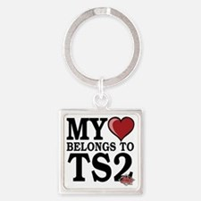 My-Heart-Belongs-to-TS2-dark Square Keychain