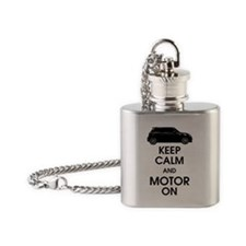 Keep Calm Motor On Mini Side Flask Necklace