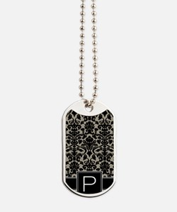 p_monogram_iphone_damask_taupe Dog Tags