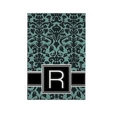 r_monogram_iphone_damask_teal Rectangle Magnet