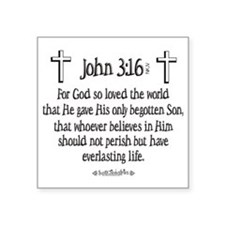 "John 3_16 e Square Sticker 3"" x 3"""