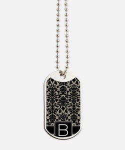 b_monogram_iphone_damask_taupe Dog Tags