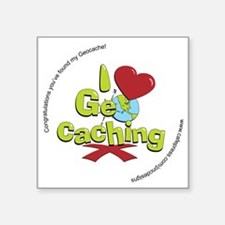 "geocaching BUTTON promo Square Sticker 3"" x 3"""