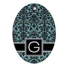 g_monogram_iphone_damask_teal Oval Ornament