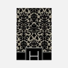 h_monogram_iphone_damask_taupe Rectangle Magnet