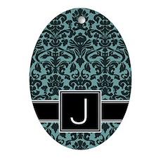 j_monogram_iphone_damask_teal Oval Ornament