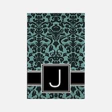 j_monogram_iphone_damask_teal Rectangle Magnet