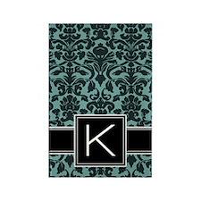 k_monogram_iphone_damask_teal Rectangle Magnet