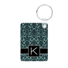 k_monogram_iphone_damask_t Keychains