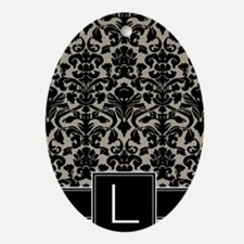 l_monogram_iphone_damask_taupe Oval Ornament
