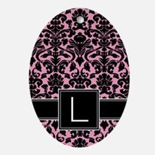 l_monogram_iphone_damask Oval Ornament