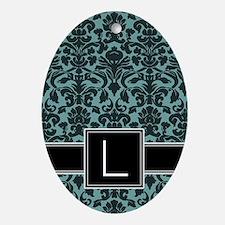 l_monogram_iphone_damask_teal Oval Ornament