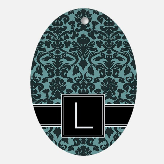 l_monogram_iphone_damask_teal Oval Ornament