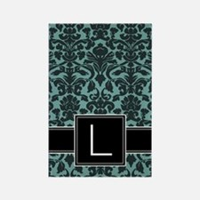 l_monogram_iphone_damask_teal Rectangle Magnet