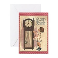 Vintage Valentine with Clock Greeting Cards (Pk of