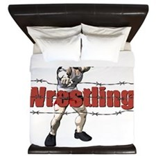 Wrestler Pointing over Barbed Wire Ring King Duvet