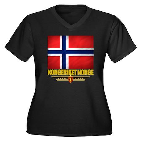 Norway (Flag Women's Plus Size Dark V-Neck T-Shirt