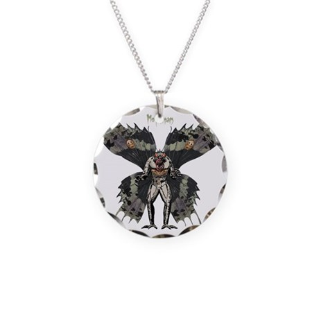 Mothman3 Necklace Circle Charm