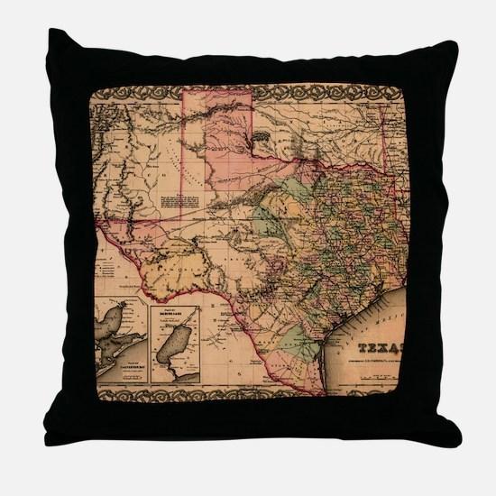 1855 Map of TX Throw Pillow