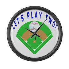 Lets Play Two Baseball Gift Items Large Wall Clock