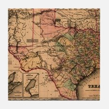 1855 Map of TX Tile Coaster
