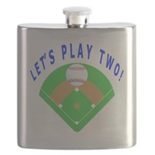 Lets Play Two Baseball Gift Items Flask