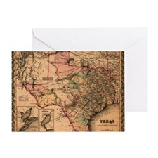 1855 Map of TX Greeting Card