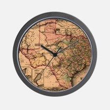 1855 Map of TX Wall Clock