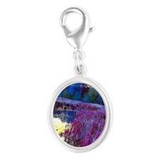 pink22 Silver Oval Charm