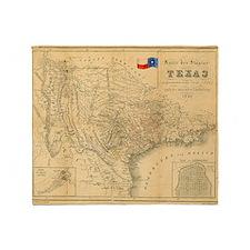 1849 Map of Texas by Badeker Throw Blanket