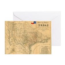 1849 Map of Texas by Badeker Greeting Card
