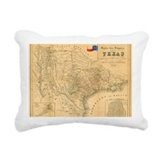 1849 Map of Texas by Bad Rectangular Canvas Pillow
