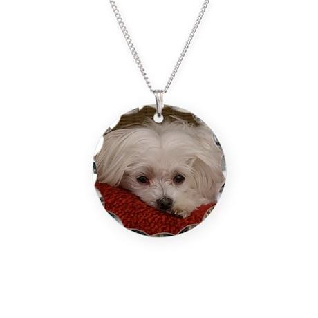 MalteseMousePad3 Necklace Circle Charm