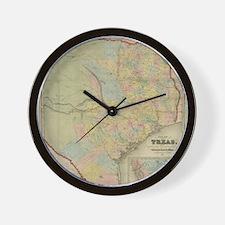 1851 Map of Texas Wall Clock
