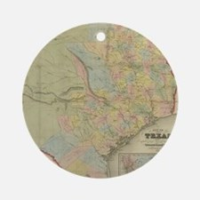 1851 Map of Texas Round Ornament