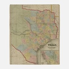1851 Map of Texas Throw Blanket