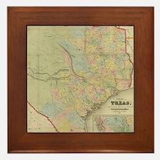 1851 Map of Texas Framed Tile
