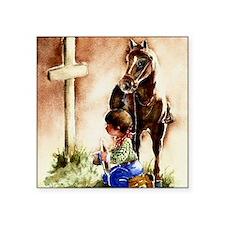 "Cowboy praying Square Sticker 3"" x 3"""