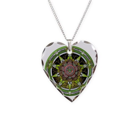 Elemental Pentacle - Earth Necklace Heart Charm