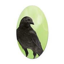 Crow_Green_iPhone2 Oval Car Magnet