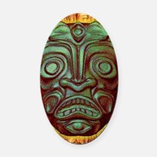 BlueGreenStoneTiki2 Oval Car Magnet