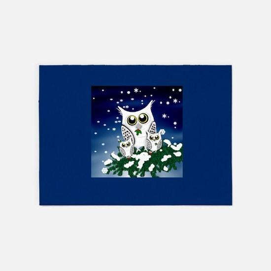 Christmas Snowy Owl family 5'x7'Area Rug